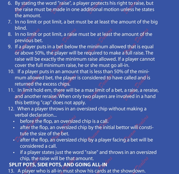 poker rules for dealer