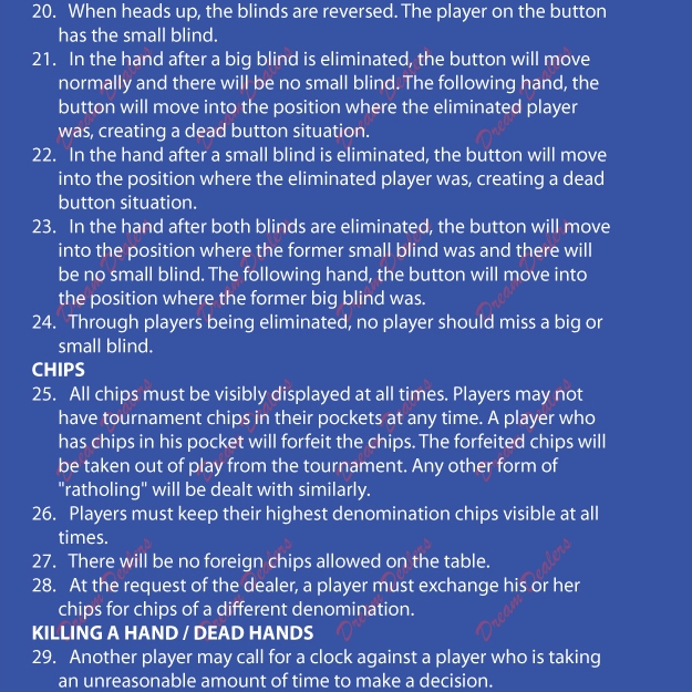 video poker tournament rules