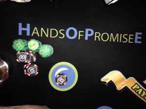 Hands of Promise casino night blackjack felt