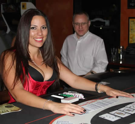 Heidi dealing at Free Poker Mondays, Rock Bottom Brewery on Shea in Scottsdale