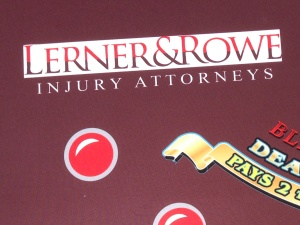 Lerner & Rowe Injury Attorneys sponsored blackjack table