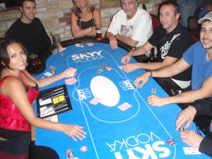 Skyy Vodka sponsored poker table