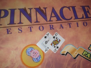 Pinnacle Restoration's fire themed blackjack table